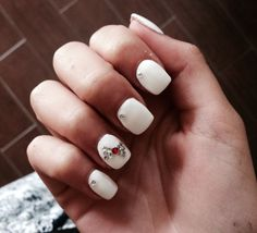 White Nails with little red ribbon❤️