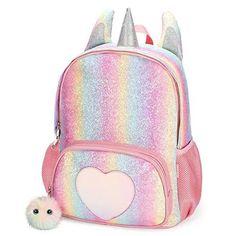 Amazing offer on Mibasies Kids Unicorn Backpack Girls Rainbow School Bag (Rainbow Glitter) online - Topusshop Cool School Bags, School Bags For Kids, Kids Bags, Girl Backpacks, School Backpacks, Backpacks For Kids, Stylish Backpacks, Leather Backpacks, Leather Bags