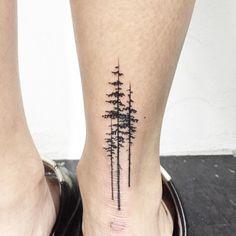 Ankle Pine Tree Tattoo