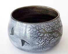 Sgraffito Stoneware Winter Tree and Ravens Soup Bowl in Stormy Grey Glaze - Handmade Functional Ceramic Art by Katherine by MuddyRaven on Etsy