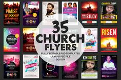 37 Church Flyers Bundle by Party Flyers on @creativemarket