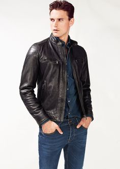 H.E. by Mango : Quilted panel leather jacket