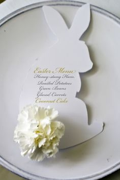 Happy Easter: Easter Bunny Silhouette With Carnation Flower Bunny Tail Easter Menu/Placecard Table Setting Easter Crafts, Holiday Crafts, Holiday Fun, Easter Ideas, Easter Dinner Menu Ideas, Brunch Ideas, Brunch Recipes, Festive, Easter Table Decorations