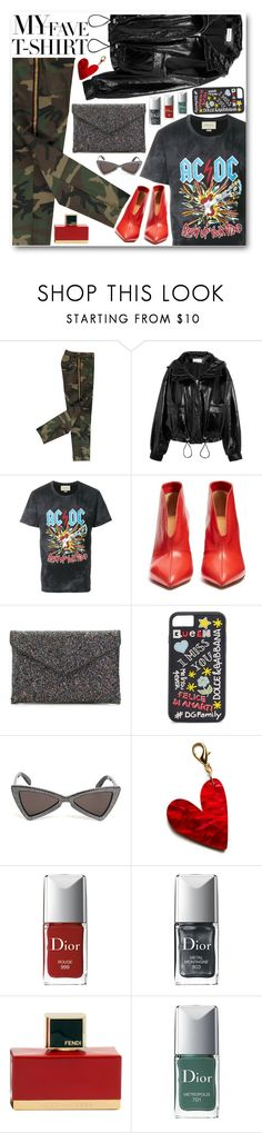 """T-shirt"" by alexa-girl2 ❤ liked on Polyvore featuring Wanda Nylon, Gucci, Isabel Marant, La Diva, Dolce&Gabbana, Yves Saint Laurent, Edie Parker, Christian Dior and Fendi"