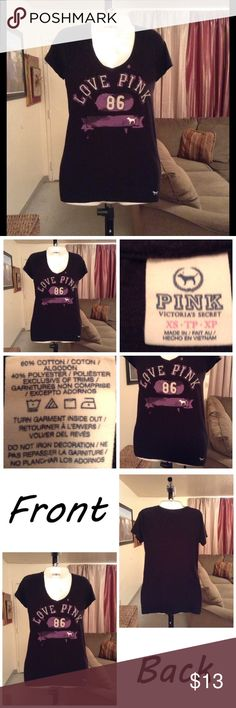 "PINK Victoria's Secret Top Top is 60% cotton & 40% polyester. Size XS. Color is black with white and purple letters. Length ""26. Laying flat ""15. PINK Victoria's Secret Tops Tees - Short Sleeve"
