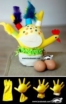 Kids Craft : Chicken from kitchen gloves Kids Crafts, Farm Crafts, Crafts To Do, Preschool Crafts, Easter Crafts, Projects For Kids, Diy For Kids, Craft Projects, Easter Art
