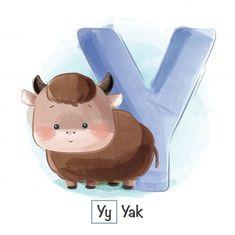 Alfabeto animal - a Vector Premium Cute Hippo, Cute Baby Bunnies, Cute Fox, Alfabeto Animal, Animals For Kids, Cute Animals, Cute Bunny Cartoon, Alphabet Cards, English Alphabet