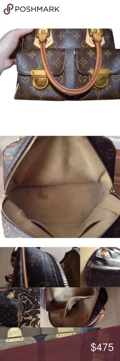Authentic Louis Vuitton Manhattan PM Authentic Louis Vuitton Manhattan PM .  Interior : Obviously Been used , stain on the bottom , but no tear . (exterior ) Patina Leather , exposed Pipping on the corners . Canvas : No crack or tear .  Please inspect all the pictures posted before Purchasing . FINAL Sale. 🚫No lowball offer Louis Vuitton Bags