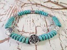Turquoise Rondel Stretch Bracelet Antique Silver by JewelrybyPJ