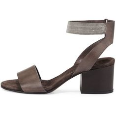 Brunello Cucinelli Monili-Trim Leather City Sandal ($1,670) ❤ liked on Polyvore featuring shoes, sandals, mid heel sandals, leather ankle strap sandals, brunello cucinelli shoes, leather ankle wrap sandals and beaded shoes