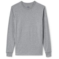 Lands' End Men's Big & Tall Long Sleeve Super-T ($35) ❤ liked on Polyvore featuring men's fashion, men's clothing, men's shirts, men's t-shirts, shirts, men, men's long sleeve, grey, mens grey shirt and lands end men's t shirts
