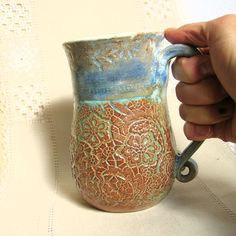 Pottery Coffee Mug, HandThrown Stoneware Tea Cup, 22 oz, Lace Texture, Sky Blue, Burnt Orange, White Clouds with Large Handle by PorcelainJazz on Etsy