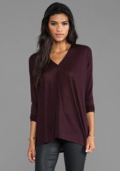 Vince Long Sleeved Double Vee Tee in Chestnut Red