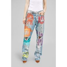 Faith Connexion Ripped Boyfriend Jean Handpainted By Vincent Dacquin ($1,100) ❤ liked on Polyvore featuring jeans, denim, light blue, pants, destruction jeans, ripped boyfriend jeans, destructed boyfriend jeans, destroyed jeans and distressing jeans