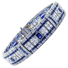 TIFFANY & Co. Elaborate Diamond and Sapphire Art Deco Bracelet...
