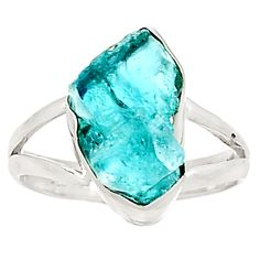 Neon Blue Apatite 925 Sterling Silver Ring Jewelry S. 8.5 RR8597 | eBay