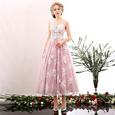 Cocktail+Party+Dress+-+Blushing+Pink+/+Pool+A-line+Jewel+Tea-length+Lace+/+Tulle+–+USD+$+149.99