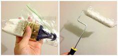 Garder les pinceaux ou rouleaux de peinture humide avec un sac de congélation ou du film étirable