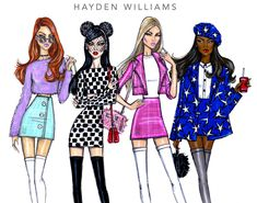 Did you guys catch the Clueless inspiration? Pastel Perfection, Spotlight Stealer, Rich Girl & Shining Star by Hayden Williams Hayden Williams, Fashion Artwork, Fashion Design Drawings, Fashion Illustration Sketches, Fashion Sketches, Fashion Games, Fashion Outfits, Fashion 2017, Vogue