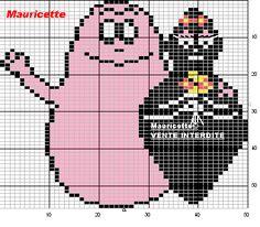 Barbapapa perler bead pattern by Mauricette Cross Stitch Baby, Cross Stitch Patterns, Hama Art, Stitch Cartoon, C2c, Betty Boop, Perler Beads, Doodle Art, Beaded Embroidery