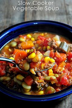 Slow Cooker Vegetable Soup Recipe - I love fresh, homemade vegetable soup year round! Great recipe to make with those vegetables fresh from your garden! (Fresh from the grocery store works too!)  from addapinch.com