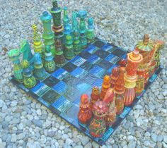 """Sculpture : """"Chess Set in Warm and Cool Colors"""" (Original art by ..."""