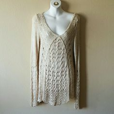 Free People Cream Crochet Knit Tunic Sweater NO-TRADES.  This is cross posted   In great condition!  No stains, but I did find a few loose threads that do not affect the sweater whatsoever. It may be a little off shoulder/slouchy, but due to my broad shoulders, how it's shown is how it fits me. Reference, I'm 36B bust, med-large. Free People Sweaters Crew & Scoop Necks