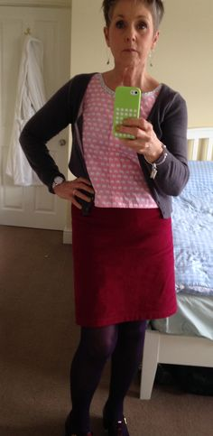 Skirt. From the Great British Sewing Bee book three, in deep raspberry cord.