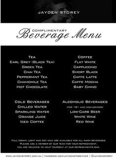 Complimentary Beverage Menu at Jayden Storey Hair and Brow Salon!