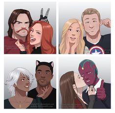 MY LIFE IS COMPLETE!!! Marvel couples unite!!! WinterWidow, Captain13, BlackStorm, ScarletVision