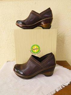 Jambu Cali Wedge Leather Clog 10/41 Brown Slip On Winter Classic Comfort #Jambu #WedgeClogs