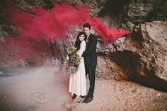 Smoke bomb wedding portraits CamiTakesPhotos