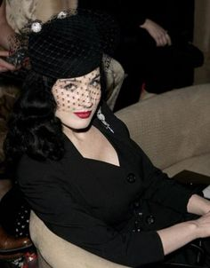 Dita Von Teese veiled hat