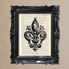 """Dictionary Art Print - """"Vintage Fleur De Lis 1"""""""