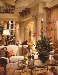 Superior Mediterranean Elegance | Marc M Charisma Design | Uniques Home Design ᘡղbᘠ  Cream Sofa,
