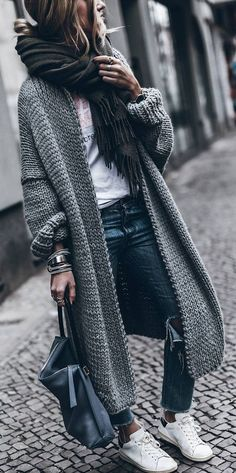 fall street style. chunky knit cardigan.