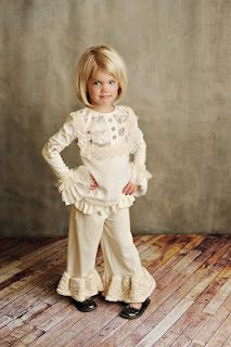 Persnickety Fall 2012 - Vintage Woodland Collection -   Lou Lou top - Cream Butterflies (sizes 2-7)  Cream Bell Pant (sizes 2-7)  Cream Cuffs (small & medium)