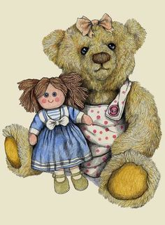 Signed and mounted fine art print on premium quality textured heavy weight art paper X X - X X - greetings cards with envelope X X - Teddy Bear Crafts, Bear Paintings, Teddy Bear Pictures, Bear Drawing, Doodle Doo, Bear Illustration, Cute Couple Art, Country Paintings, Tatty Teddy