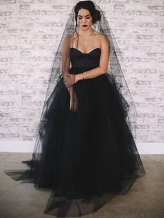 778dfccc9f Special Sweetheart Black Tulle Satin Long Wedding Dresses
