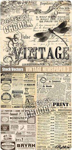 Старая газета, вырезки и объявления - винтажные векторные фоны
