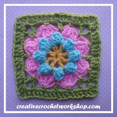 "Eight Petal Popcorn Flower (5"") - free pattern by Creative Crochet Workshop. Crafting A Rainbow Of Hope."
