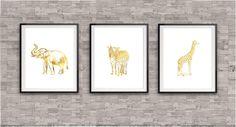 Elephant, Giraffe and Zebra Gold Prints, Gold Foil Prints, Safari Art Prints, Elephant Art Work, Jungle Art Prints, Elephant Poster, by TheDigitalStudio on Etsy https://www.etsy.com/listing/189879651/elephant-giraffe-and-zebra-gold-prints