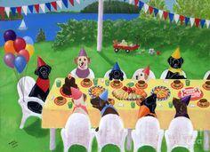 Labrador Party by Naomi Ochiai  (900×653) birthday, dogs