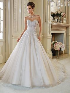 A-Line/Princess Sleeveless Sweetheart Tulle Applique Cathedral Train Wedding Dresses