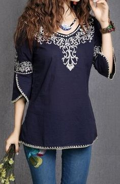 Cheap blouse leopard, Buy Quality blouse shirt directly from China blouse white Suppliers: Blusas Femininas Round Neck Ethnic Totem Pattern Embroidered Bordered Women Tops Ladies Blouses Shirts Bohemian Tops, Boho Fashion, Fashion Outfits, Womens Fashion, Estilo Boho, Mode Hijab, Indian Designer Wear, Embroidered Blouse, Western Wear
