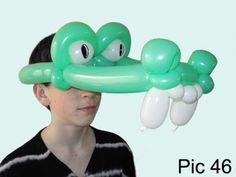 Balloon animals twisting instructions: Crocodile balloon hat. How to make balloon crocodile hat. Alligator balloon hat