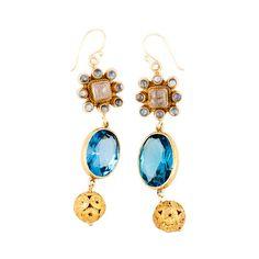 Blue Topaz Moonstone Earrings