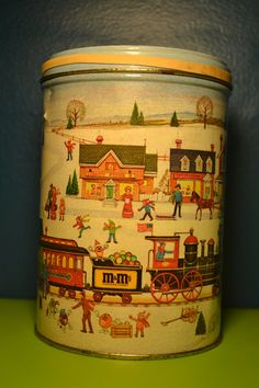 Vintage M&M's collectible candy tin Winter Scene Holiday