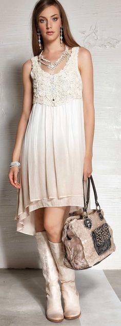 Elisa Cavaletti romantisches Kleid creme S M L XL XXL ELP152025325 NEU SS 2015