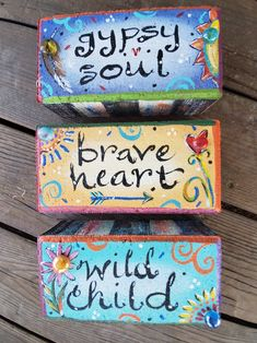 Painted Bricks Crafts, Brick Crafts, Painted Pavers, Painted Brick Walls, Painted Rocks, Bohemian Art, Boho, Landscape Bricks, Kids Canvas Art